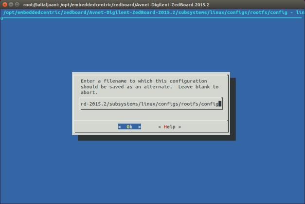 rootfs menuconfig -Confirm new configuration