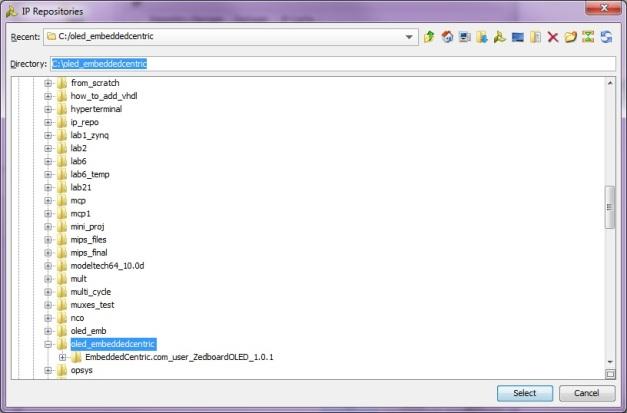 Directing to the ZedboardOLED IP