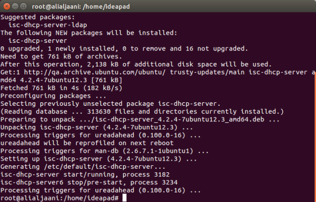 Successful installation of DHCP Server