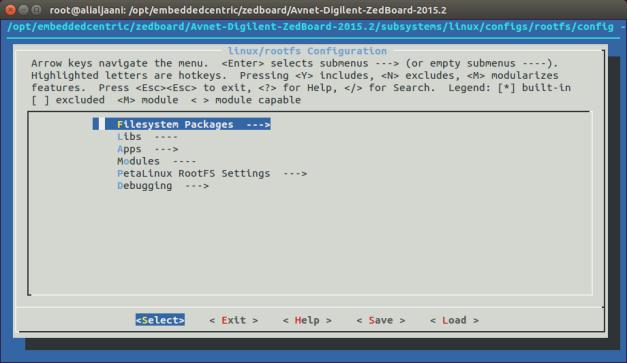 rootfs menuconfig – Navigate to Filesystem Package