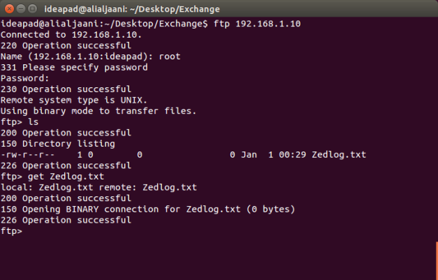 Copy a file from Zedboard using FTP