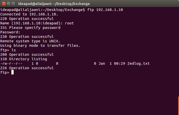 Lists files on Zedboard FTP directory.