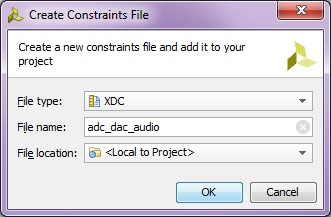 Name new constraints file: adc_dac_audio