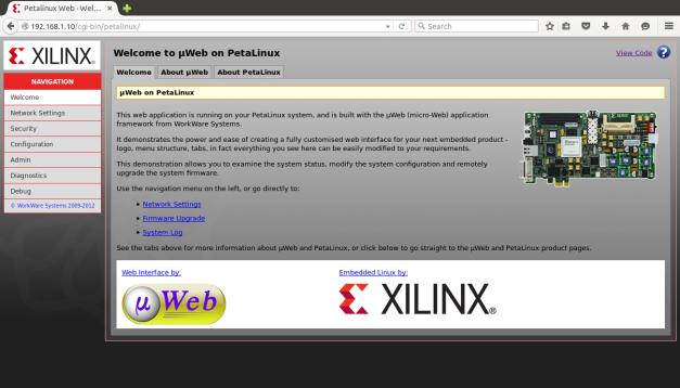 PetaLinux Default Webpage