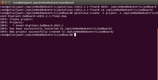 PetaLinux project based on Zedboard BSP