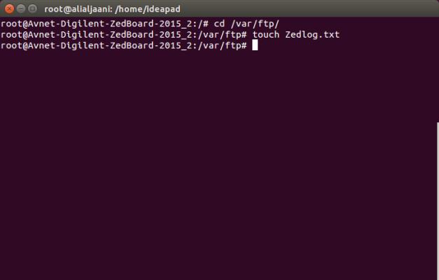 Create a new file in Zedboard FTP directory